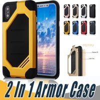 Wholesale Iphone Fall Case - Luxury 2 in 1 Anti-Fall Protection Case Shockproof Armor Hard TPU PC Cover Cases For iPhone X 8 7 6 6S 5 5S Plus For Samsung S9 S8 S7 Plus