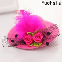 Cute Hat Hair Baby Girls Party Net Yarn Shiny Hair Clip Children S Hat  Headband Feathered Flowers Hair Accessories Hairpins 12PCS ad98302cd046
