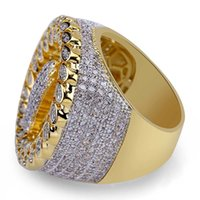 Wholesale fashion rings online - men ring vintage hip hop jewelry palm Zircon iced out copper ring High grade luxury for lover wedding fashion Jewelry