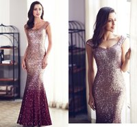 spitzekleider farbe berühmtheiten großhandel-Einzigartige Multi Color Mermaid Gold Lange Abendkleider 2018 Scoop Backless Prom Kleider Celebrity Party Kleider Club Maxi Kleid Vestido De Festa