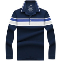 Wholesale long polos online - High Quality Embroidery Polo Shirt New Striped Men Polos Business Casual Mens Long Sleeve Polo shirt