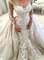 Wholesale wedding dress lace applique garden online - 2019 New Dubai Arabic Luxury Gorgeous Mermaid Wedding Dresses with Detachable Train Lace Applique Long Illusion Sleeves Bridal Wedding Dress