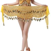 indischer bauchtanz großhandel-Frauen Taille Kette Chiffon Anhänger Goldmünze Indischen Tanz Bauchtanz Pailletten Taille Kette 2018 Neueste