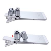 microscopio de luz uv al por mayor-Lupa con lupa para teléfono móvil con zoom 60X con LED y luz ultravioleta Microscopio con clip para teléfono celular para todos los teléfonos móviles Tamaño de bolsillo