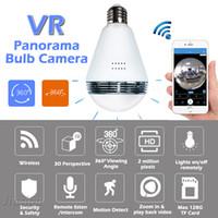Wholesale night vision light bulb - WiFi IP Bulb Light Camera FishEye 960P 360 degree Full View Mini CCTV Camera 1.3MP Night Vision Home Security Panoramic