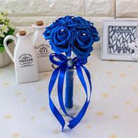 güzel düğün renkleri toptan satış-Yeni Güzel 20 Renkler Şerit ile Çiçek Düğün Buket El Yapımı Yapay Kristaller Kolu Gelin Buketi Buque de Noiva CPA1560