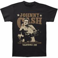 Wholesale graphic stars - Cheap Mens Graphic Tees Crew Neck Short Johnny Cash Men's San Quentin Stars Slim Fit T-shirt Size S To 3XL Top Mens T Shirt