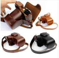 deri kamera lens kutuları toptan satış-Lüks PU Deri Kamera Çantası Için Fujifilm X-T20 XT20 X-T10 XT10 16-50mm 18-55mm lens Kamera Kılıfı Deri Ile Kayış