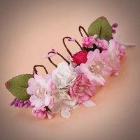 handgewebte perlen großhandel-Braut Kopfbedeckung Pearl Flower Hand Woven Hochzeit Krone Foto Studio Foto Haarschmuck
