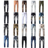 Wholesale jeans online - Fashion New BALMAIN Rock Renaissance Jeans Europe and the United States street style boys hole embroidered jeans men women color jeans
