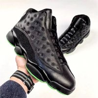 Wholesale Fiber Sports - Air Retro 13 ALTITUDE Basketball Shoes For Men Real Carbon Fiber Authentic Sneakers Black Green Orignal Quality Sports Shoes 7-13