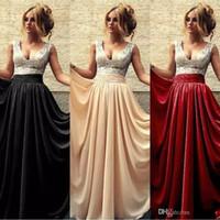 şampanya siyah nedime elbiseleri toptan satış-Ucuz V-Boyun A-Line BORDO SİYAH Gelinlik Modelleri Pembe şampanya Pullarda Uzun Abiye Giyim Arapça Gelinlik Artı boyutu vestidos