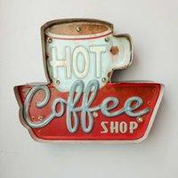 ingrosso segno del caffè principale-Hot Coffee LED Segni Vintage Cafe Negozio Decorativo Luce Al Neon Home Decor Piastra Metallica Per Parete retro Coffee Plaque 35.5X5X29.5CM