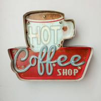 eski dükkan ışığı toptan satış-Sıcak Kahve LED Işaretleri Vintage Cafe Shop Dekoratif Neon Işık Ev Dekor Metal Plaka Duvar retro Kahve Plak 35.5X5X29.5 CM