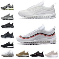 Wholesale outdoor sports lights - New 97 running shoes OG TTriple white balck green Silver Bullet Metallic Gold japan grey Men women sport shoe Sneaker 36-45