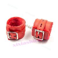 Wholesale neck handcuffed bondage for sale - Group buy Slave Lockable Handcuffs Wrist Ankle Cuffs Restraint Neck Collar Leash Shackle R87