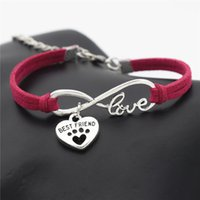 Wholesale heart charms best friend resale online - Vintage Single Layers Rose Red Leather Rope Bracelet Bangles for Women Men Infinity Love Pet Dog Paw Best Friend Heart Pendant Charm Jewelry