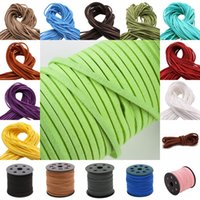 Wholesale flat leather for bracelets - 17 Styles Korea Velvet Flat Leather Cord Lmitation Leather Rope String Cords For Bracelet Necklace Jewelry Craft Making Free DHL G953F