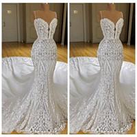 Wholesale sexy slim wedding dresses resale online - 2019 Sexy Lace Appliques Mermaid Wedding Dresses Slim Customized Middle East Fashion Style Bridal Gowns Long Vestidos De Marriage