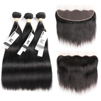 Wholesale Natural Human Hair Mixed Bundle - 8A Mink Brazilian Straight Hair 13x4 Lace Frontal Closure with Bundles Non-Remy Human Hair with Ear to Ear Lace Frontal Closure Free Part