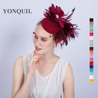 Wholesale church headband hat - NEW ARRIVAL multiple colors kentucky sinamay fascinators with feather derby Occasion church hats bridal wedding party headpieces