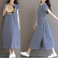 Wholesale Maternity Dress Stripe - Maternity Dresses Pregnant Women Long Maxi Dress Short Sleeve Cotton Stripe for New Mom Nursing Clothing for Outing