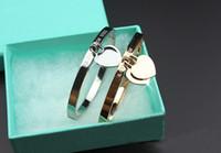 ingrosso braccialetti di marca-marchio di lusso Bracciali in oro rosa titanio Bracciale in oro con diamanti per gioielli donna Bracciale con doppio cuore donne con logo box