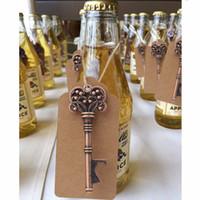 karikatur lehm figuren großhandel-50sets Key Flaschenöffner mit Tag Card Natur Jute Schnur Hochzeit Bevorzugungen Party Geschenke Event Party Supplies
