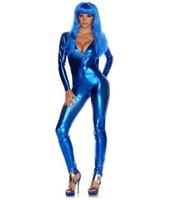 mavi catsuit toptan satış-Mavi Parlak Metalik Likra Zentai Catsuit Cadılar Bayramı Cosplay Yetişkin Bodysuit Custom Made sıkı tulumlar