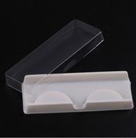 cajas de tapa transparente al por mayor-Caja de embalaje para pestañas en blanco pestañas envases de plástico tapa transparente bandeja blanca ventas al por mayor 100 sets / lote