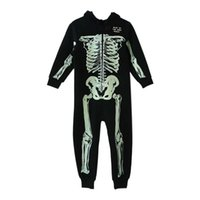 Wholesale Pajamas Skeleton - Autumn Winter Skeleton Overalls Jumpsuit Kids Pajamas Children Onesie Sleepers Pajamas Christmas Halloween Costumes