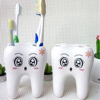 contenedores de cepillo de dientes al por mayor-Titular de cepillo de dientes de dibujos animados dientes estilo 4 agujero soporte del cepillo de dientes estante accesorios de baño conjuntos soporte contenedor DDA526