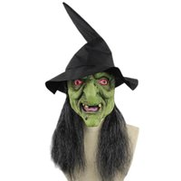 ingrosso streghe faccia maschera-2018 New Halloween Decoration Green Head Grigio Orrore Strega Maschera realistico Halloween Party Mask Drop Shipping Hot