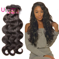 Wholesale indian remy wavy hair weave resale online - UNice Hair Peruvian Bundles Body Wave Indian Virgin Human Hair Bundle Brazilian Hair Weaves Natural Color Wet And Wavy Remy
