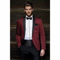 smokings au champagne pour hommes achat en gros de-Mode Style Un bouton Bordeaux Groom Tuxedos Groomsmen Hommes Costumes de bal de mariage Époux (veste + pantalon + ceinture + cravate)