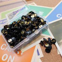 ingrosso spingere il pollice-Perni di spinta da 300 pezzi / set, testa rotonda in plastica da 3/8 pollici, puntali in acciaio da 5/16 pollici (nero)