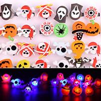 führte halloween ring großhandel-Halloween LED Leucht Ring Flash Fingerring Kürbis Geist Schädel ring spielzeug Halloween Requisiten Weihnachtsgeschenk FFA805