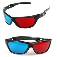 Wholesale plastic anaglyph 3d glasses online - new Black Frame Universal D Plastic glasses Oculos Red Blue Cyan D glass Anaglyph Movie Game DVD vision cinema