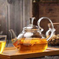 filtre cam demlik toptan satış-600ml Yüksek Sıcaklık Direnci Cam Yüksek Brew Çaydanlık 13xy bb Dayanıklı Çaydanlık Şeffaf Filtre Kokulu Ev Isı Kulp