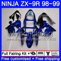 ingrosso blu 1998 zx9r-Corpo per KAWASAKI NINJA ZX 9 R ZX900 ZX9 R ZX9R 98 99 00 220HM.36 Blu perla Lucente ZX 900 900CC ZX 9R 98 99 ZX-9R 1998 1999 2000 Kit carenatura