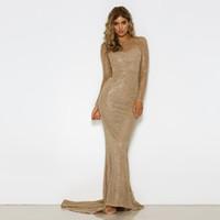robe de fessée sexy femme nue achat en gros de-Robes de bal en or argent 2018 robe maxi pailletée soirée sirène élégante robes de soirée brillantes dos nu robe de plancher en mousseline de soie