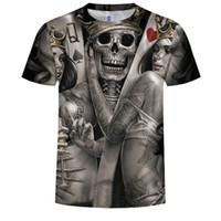 Wholesale plus size clothing skulls for sale - 3d skull t shirts Men HOT SALE Fashion Brand Mens Casual D Printed T shirt Cotton Men Clothes tshirt plus size
