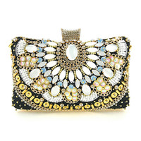 handmade bags sale UK - Factory Direct Sale, Heng Mei Cross Border Handheld Dinner, Handmade Pearl Embroidered Dress, European And American Fashion Bags