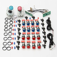 Wholesale Usb Arcade Joysticks - Arcade DIY Kits USB Control to PC LED Joystick 5V LED 2 Players Illuminated Push Buttons 2 x Zero Delay Keyboard Encoder
