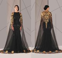 capa arabe al por mayor-2018 Negro árabe musulmán Vestidos de baile Tulle Cloak Gold and Black Sequins Cuello redondo Talla grande Sirena Vestido formal Vestido largo de baile