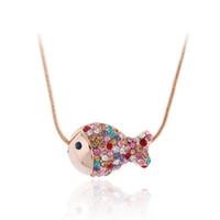 ingrosso oro pesce-Nuovo stile semplice cubic zirconia di cristallo pesce collane pendenti in oro rosa gioielli di moda per le donne catena accessiories z382