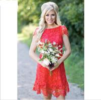 yeni boyun tarzı elbise toptan satış-2018 Yeni Kırmızı Tam Dantel Kısa Gelinlik Modelleri Ucuz Batı Ülke Tarzı Ekip Boyun Cap Kollu Mini Backless Homecoming Kokteyl Elbiseleri