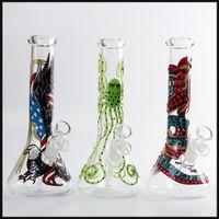 bongs de narguile gratis al por mayor-Nuevo vaso de vidrio bong pipas de agua bongs 10 pulgadas dibujo coloreado burbujeador fumar narguiles bongs envío gratis