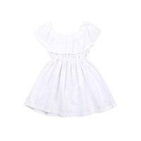 Wholesale toddlers hot pink party dresses for sale - Group buy 2017 Hot White Off Shoulder Toddler Girls Dress Baby Princess Style Ruffled Wed Party Dress