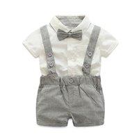 aa81572b56d1c Bébé Garçon Ensembles Formel Toddler Vêtements Cravate De Mode + Chemise  Courte + Salopette Garçons Vêtements D été Garçon Fête D anniversaire  Costume 0-24 ...